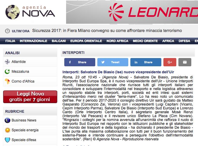 Interporti: Salvatore De Biasio (Ise) nuovo vicepresidente